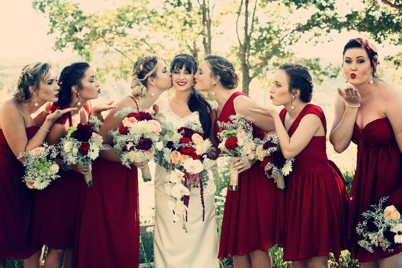 bridesmaids in red,  bridesmaids