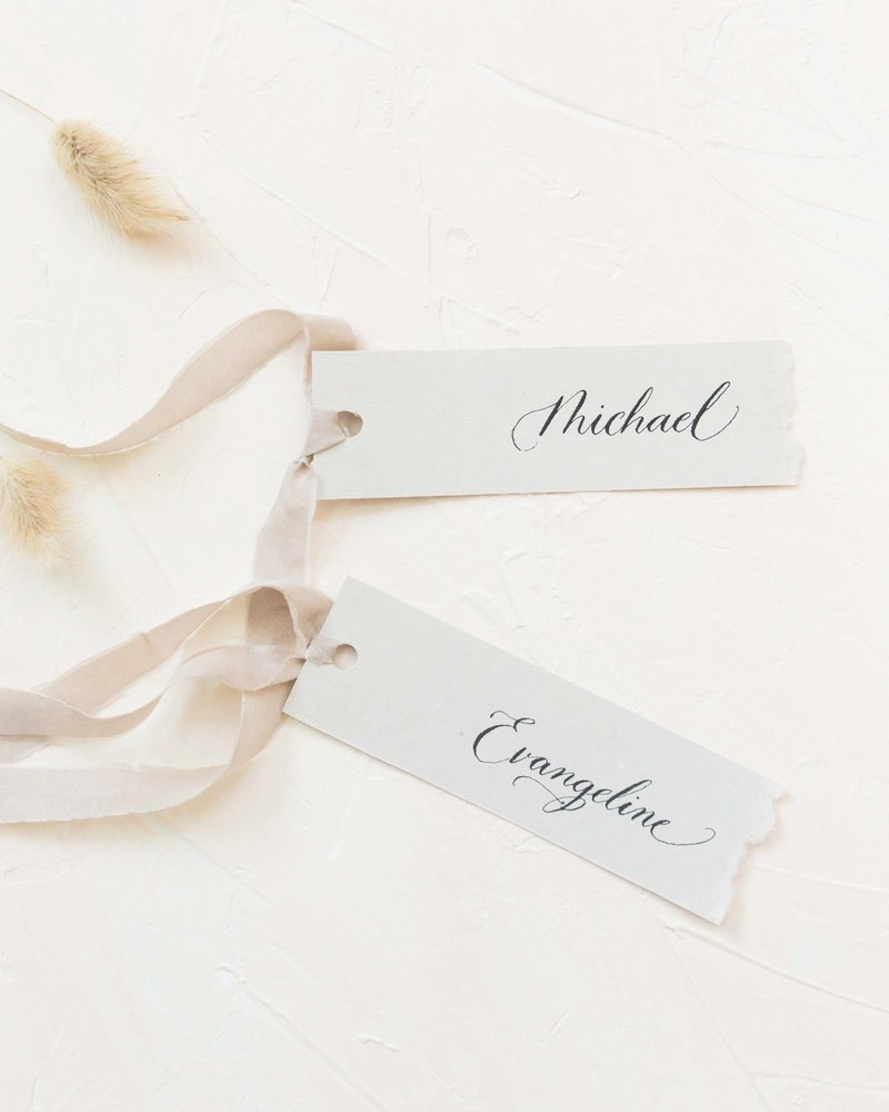 minimal and romantic place cards on hanmade paper by dominique alba (plume & fete)