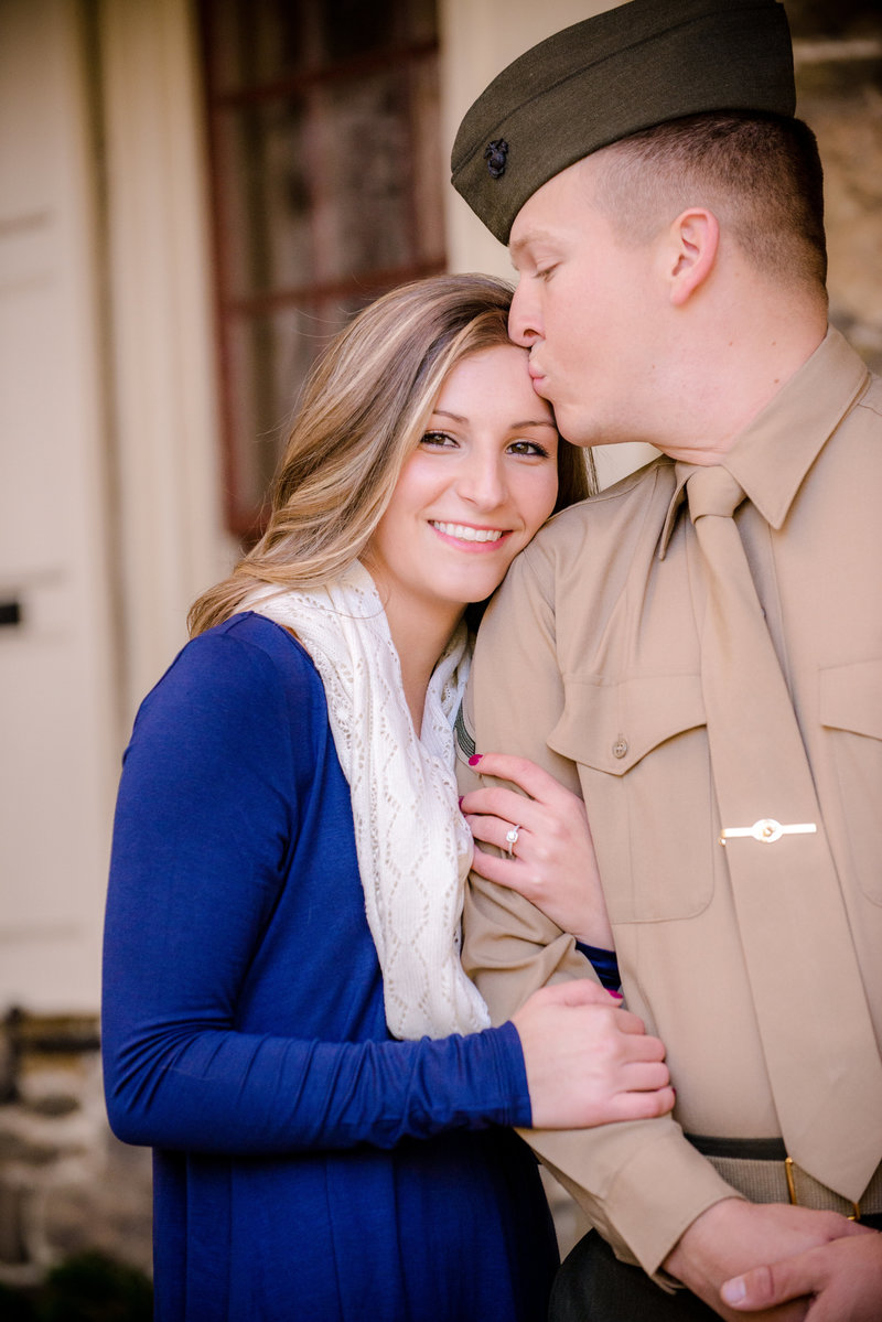 JandDstudio-engagement-rustic-vintage-military-fall-kissing