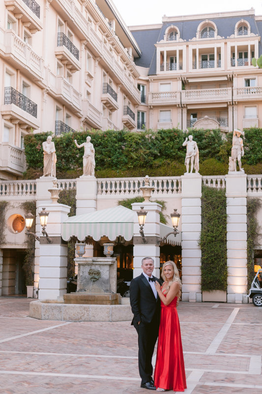 couple in front of hotel metropole Monaco Monte carlo