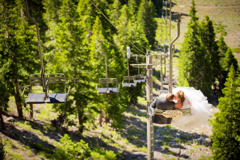 Mammoth Mountain wedding photos bride and groom ski lift