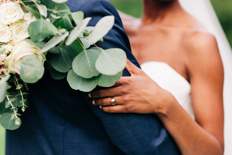 closeup of bride and groom's arms wrapped around each other