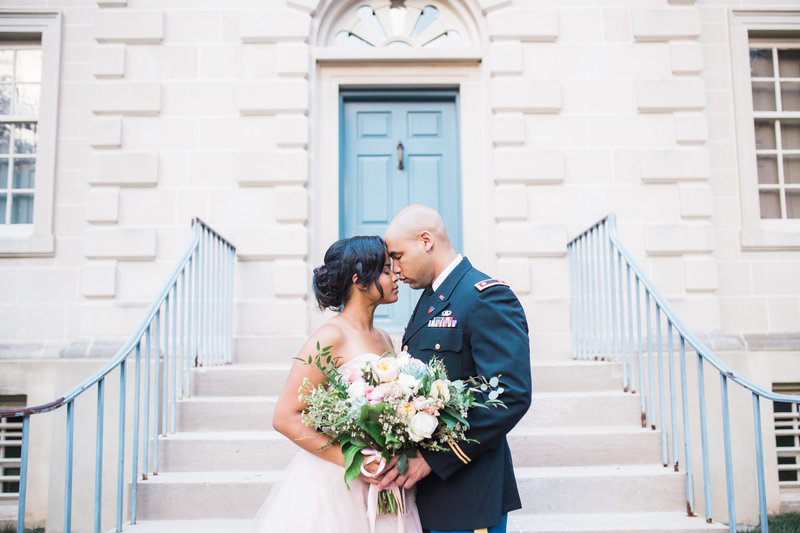 Military Wedding - Groom and Bride - M. Harris Studios