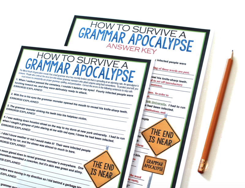 A grammar apocalypse assignment where students attempt to stop a zombie virus from spreading by correcting grammar errors in zombie related examples.