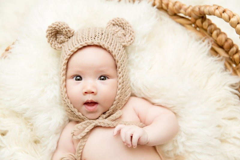 3 month old baby with bear hat