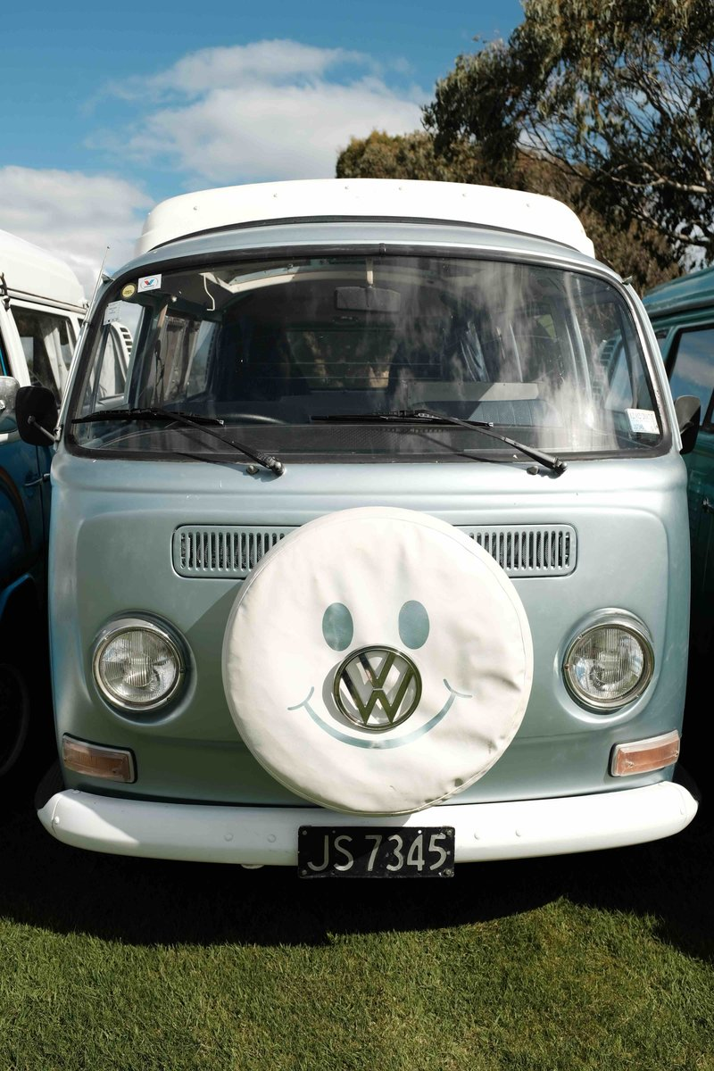 Front view of Stella, kombi camper van from NZ Kombi Hire, Invercargill, New Zealand
