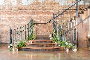 grand staircase for a wedding at The Old Cigar Warehouse