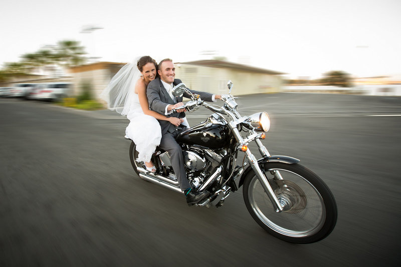 Ocean Beach wedding photos  bride and groom on motorcycle