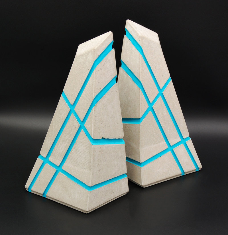 Modern Geometric Concrete Bookends