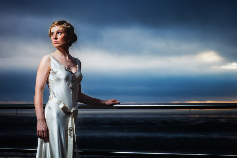 dramatic wedding portrait silk wedding dress beach