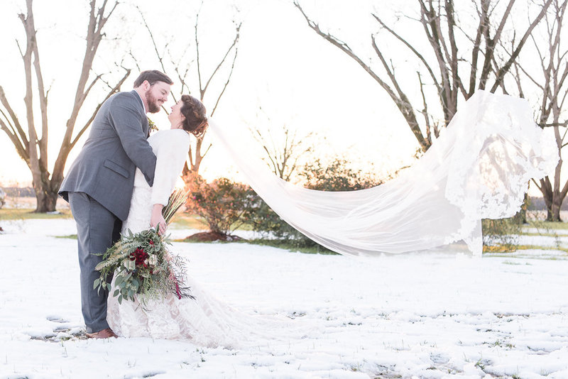 Snow Wedding in Alabama - Long Veil - Veil Toss