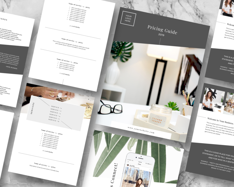 Pricing guide Canva template