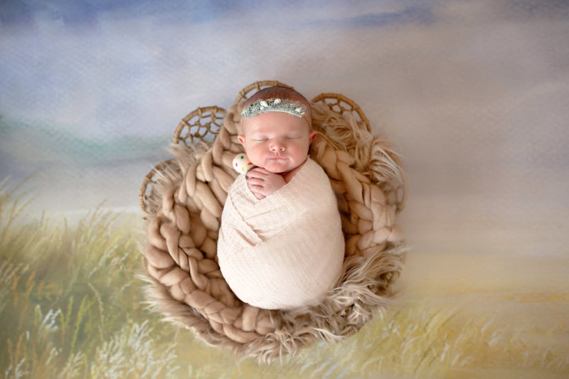 beacfh themed newborn photo session