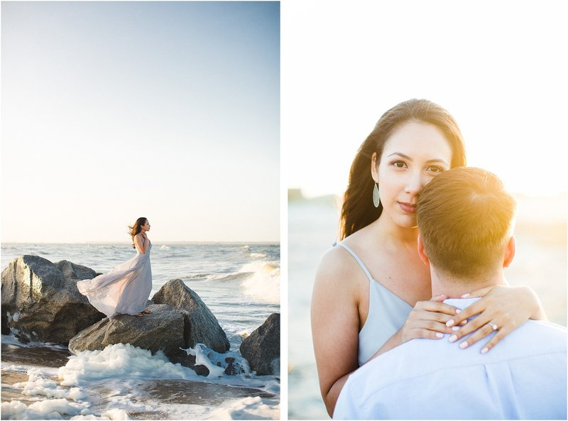 tybee beach sunset engagement session