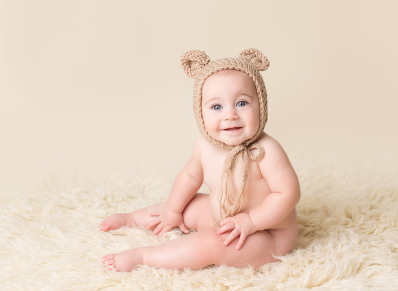 baby with bear hat 6 months