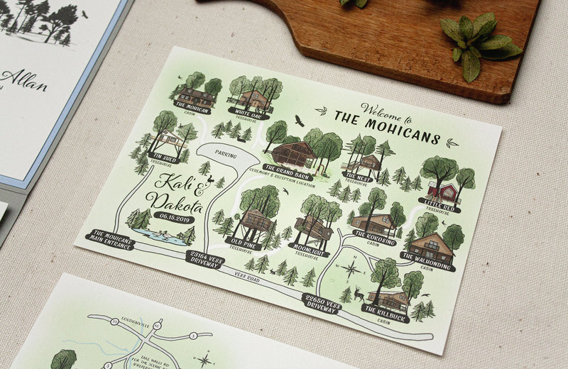 Custom watercolor map of The Mohicans featuring the Grand Barn and their other treehouses.
