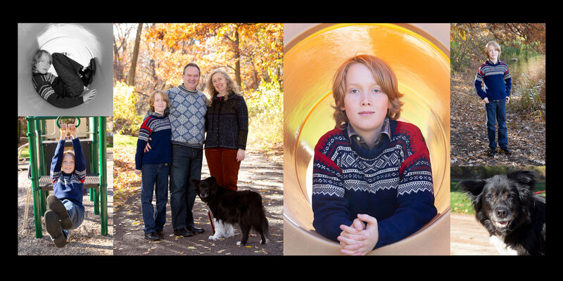 Family Portrait Collage outdoor in Fall