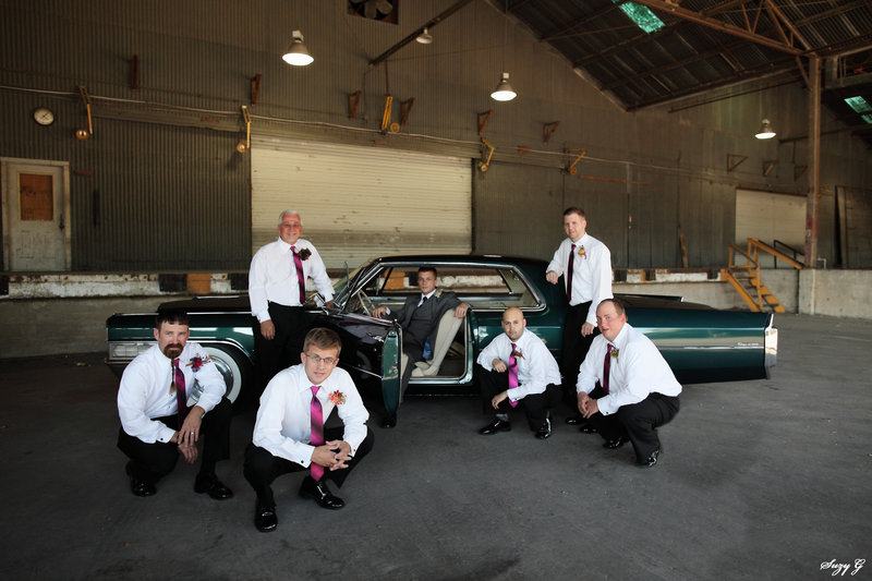 Groom & Groomsmen group photo with vintage car