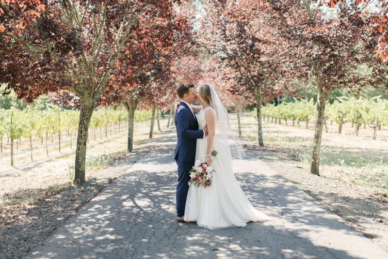 An adventurous couple traveled to Napa Valley for their beautiful winery wedding