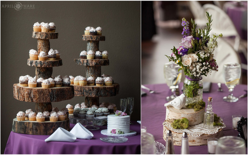 Detail photos of cupcakes and table centerpieces at Pines at Genesee