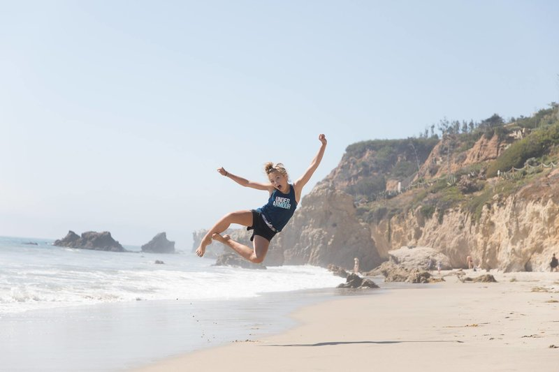 Katlyn Wood Jumping at Malibu Beach