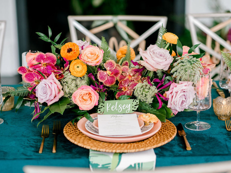 Vivid bold colors styled shoot wedding
