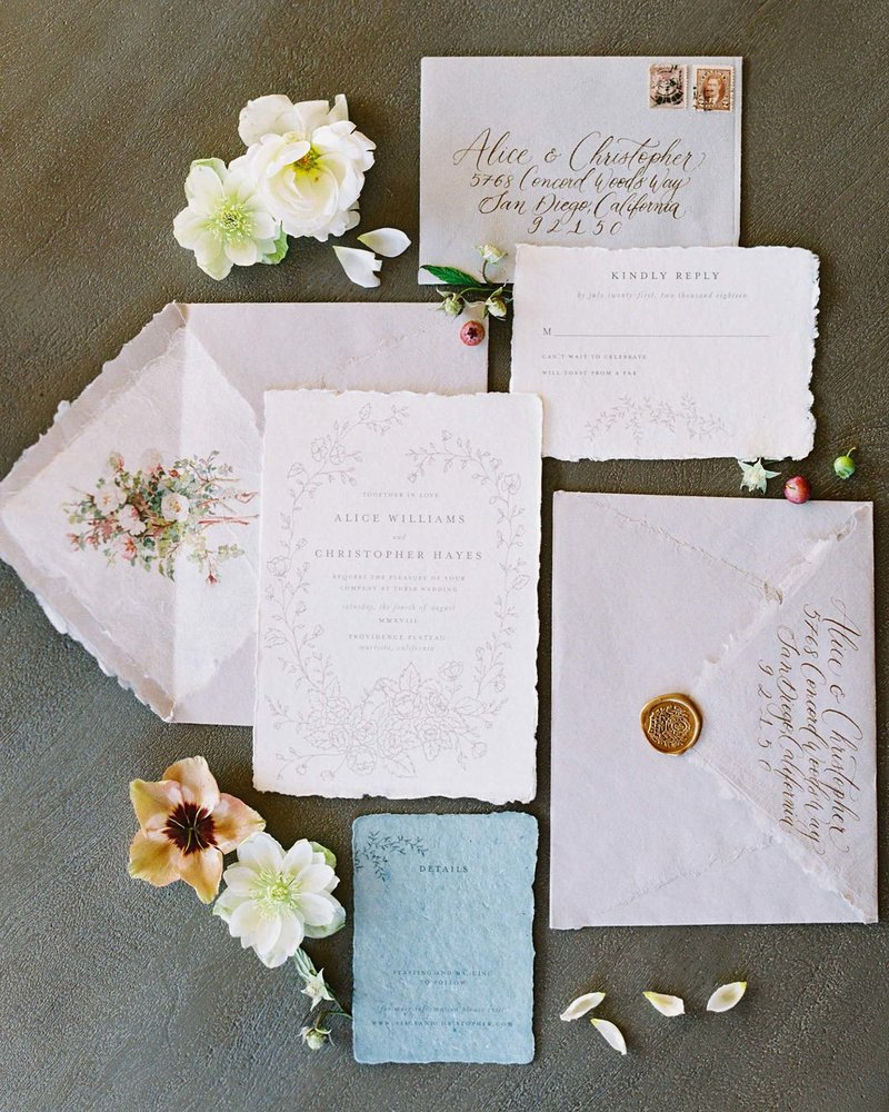 Plume & Fete fine art romantic custom handmade wedding invitations WS 10.49.49 AM