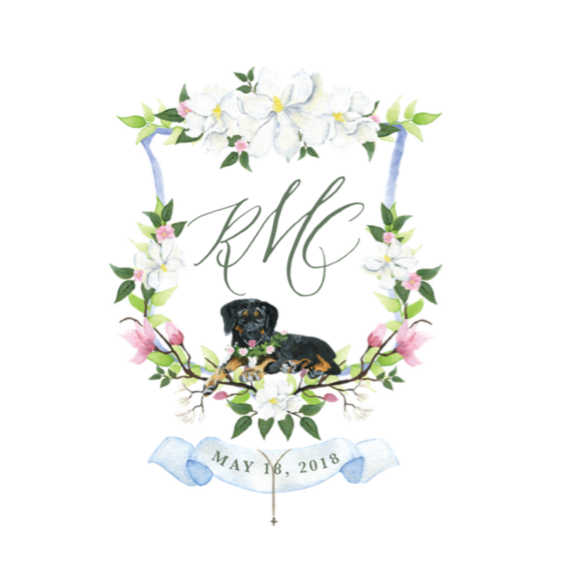 Custom magnolia watercolor wedding crest with dog portrait