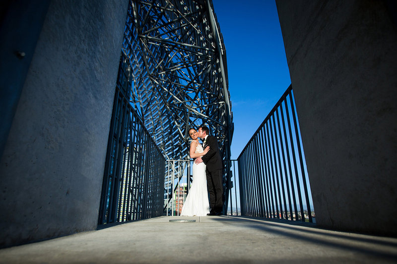 Salk Institute wedding photos dramatic lighting