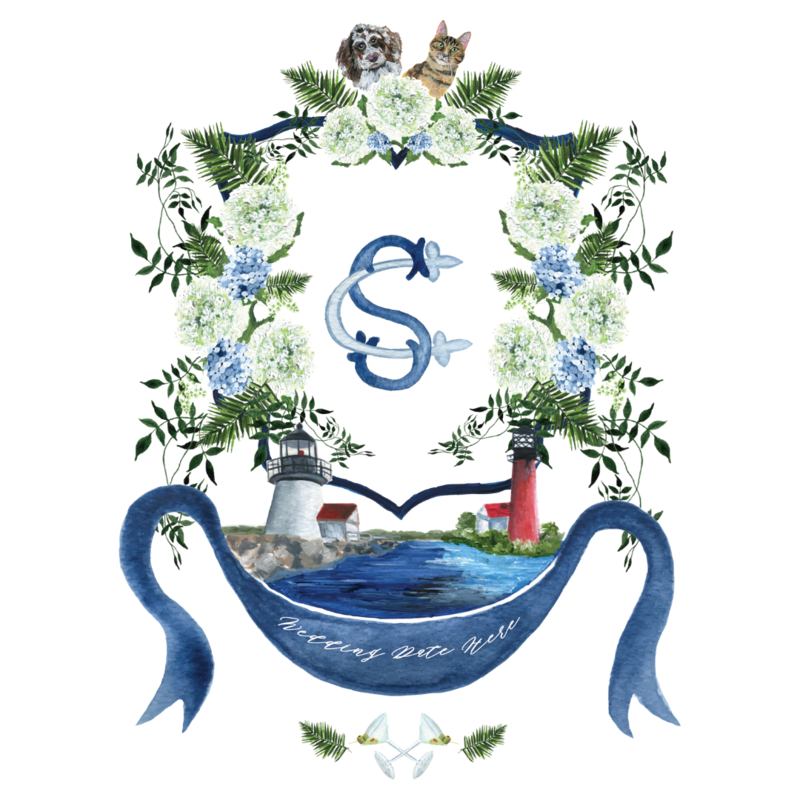 Custom nautical watercolor wedding crest with Cape Cod venue painting