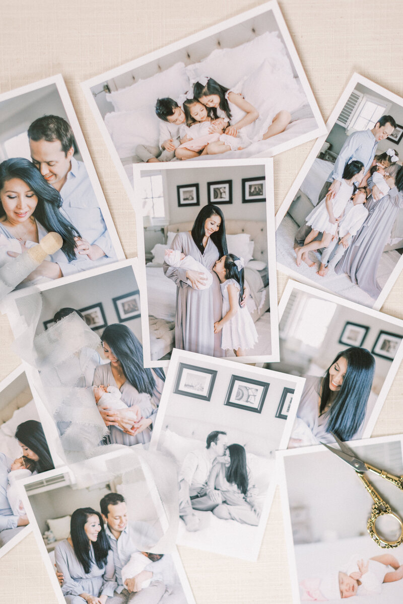 Fine art prints of a DC newborn session on a flat surface