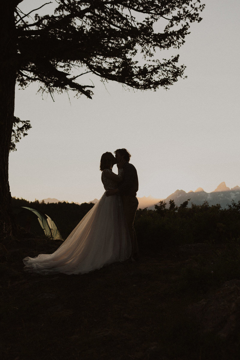 A bride and groom kissing on the edge of a cliff during their elopement