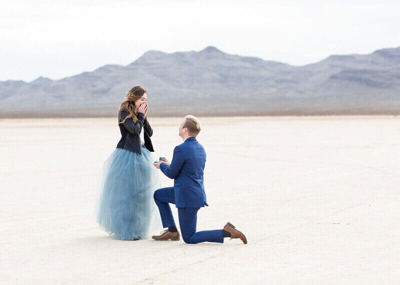 Las Vegas Proposal Photography at Dry Lake Bed