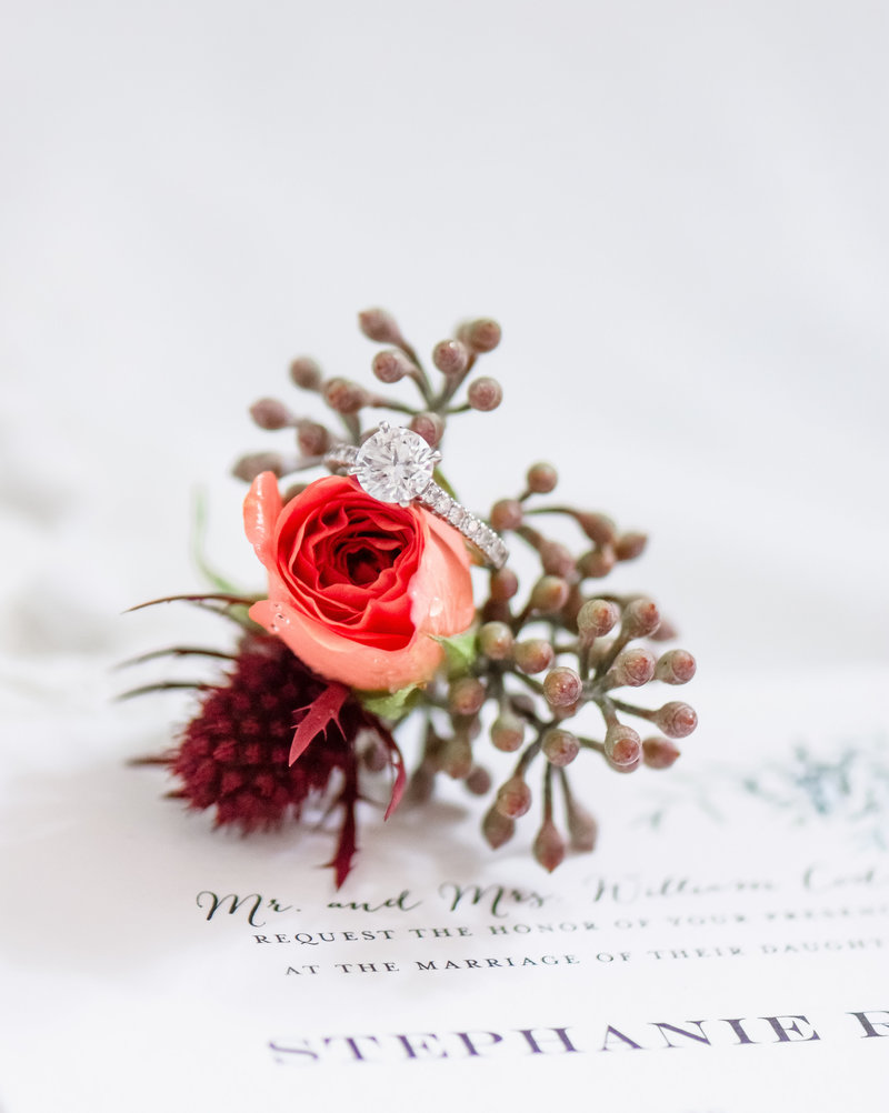 Ring shot on top of boutonniere