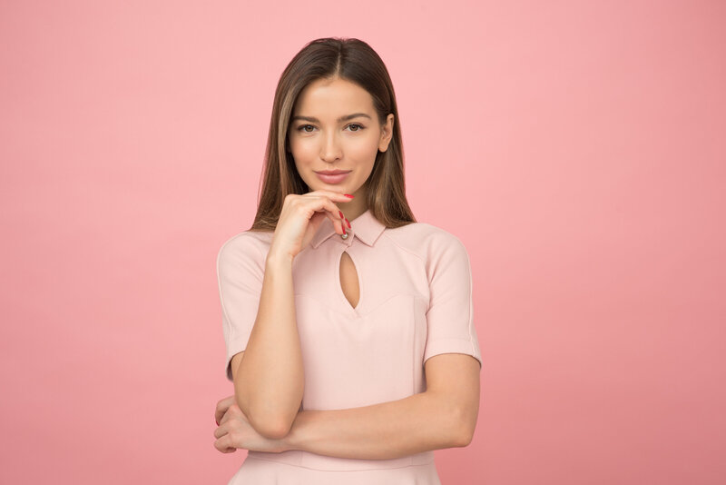 Canva - Woman Wearing Pink Collared Half-sleeved Top
