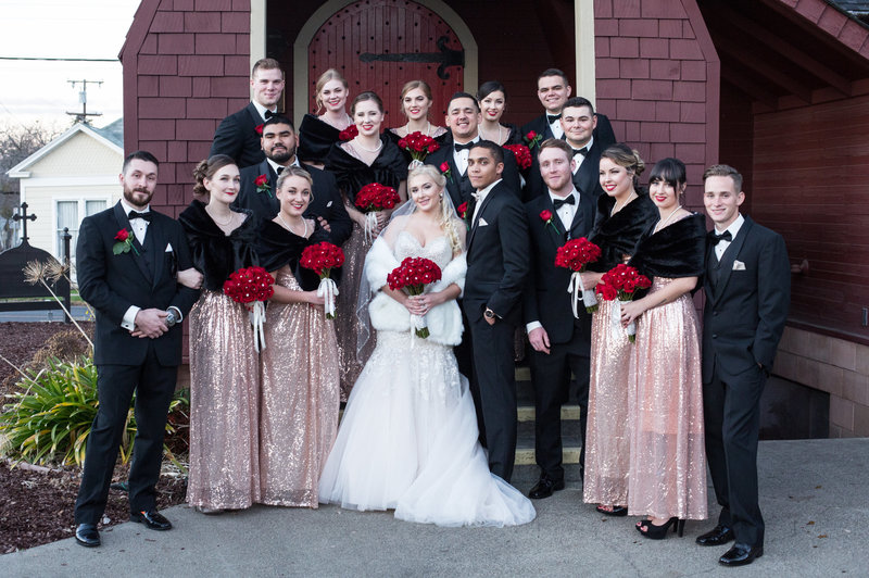 bridal party vintage wedding