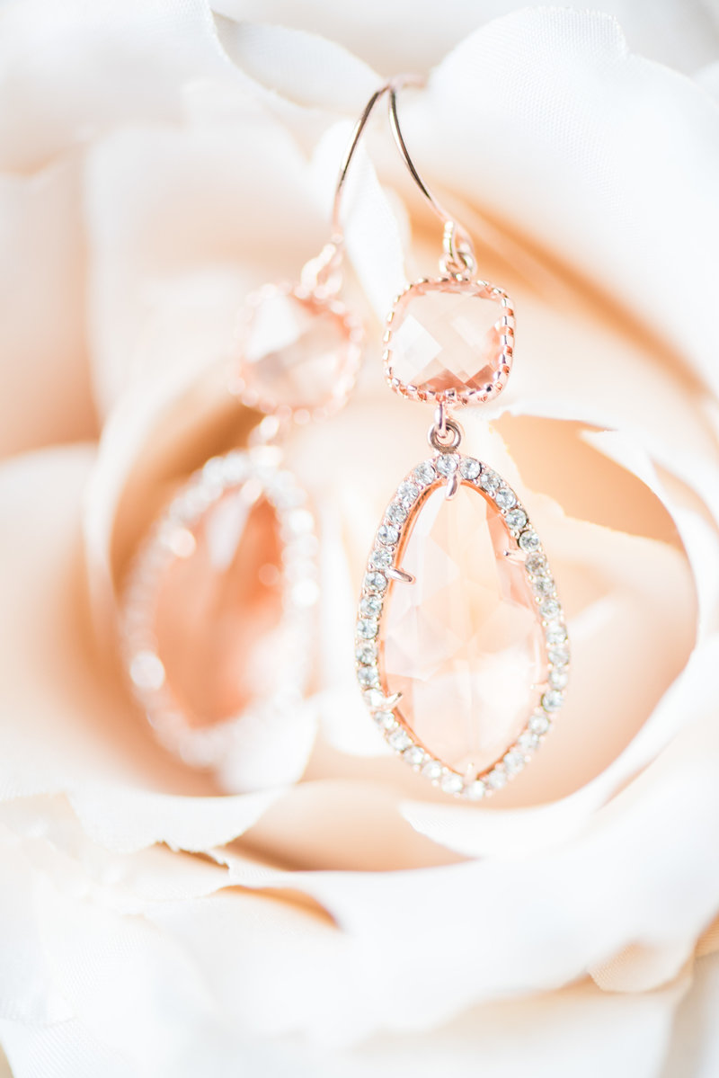 Rose Gold Dangle Wedding Earrings Pink Wedding Florals Virginia Wedding Photographer