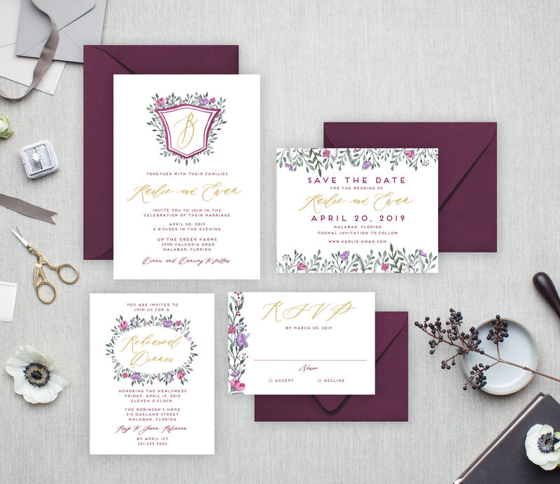 Burgundy Wedding Invitations with hand painted watercolor crest and flowers