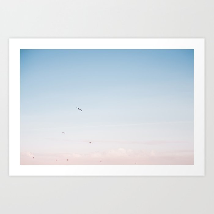 coastal-beach-photography-pastel-colored-sky-printable-photo-art-print-seagulls-prints
