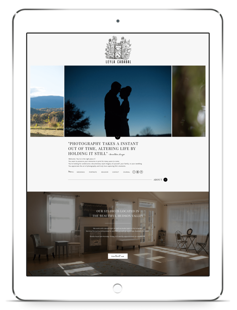 iPad image of a Showit template customization by Crystal Lee Design Studio
