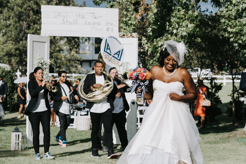 Black Bride with marching brass band California wedding -1