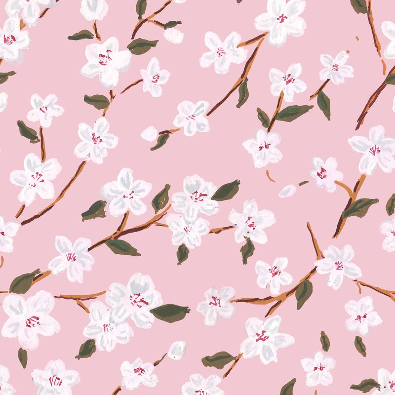 cherry blossoms blush floral gift wrap
