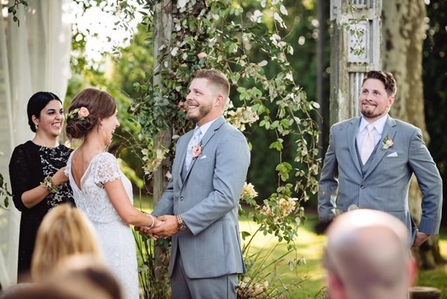 Laughter and joy at a customized Terrain Wedding, Main Line Philadelphia. The couple chose Cely Santana of Lehigh Valley Celebrants as their wedding officiant.