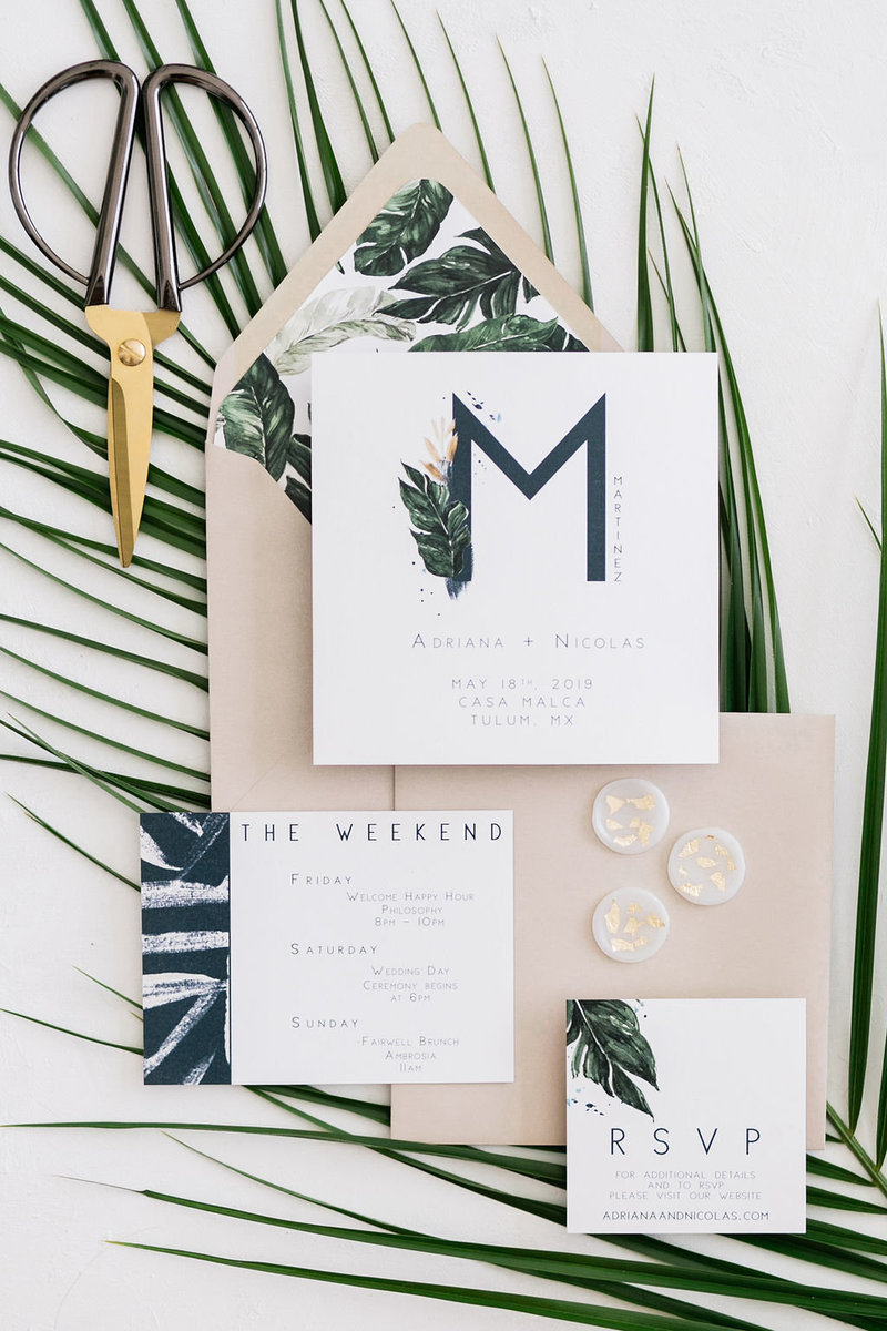 modern tropical wedding invitation suite