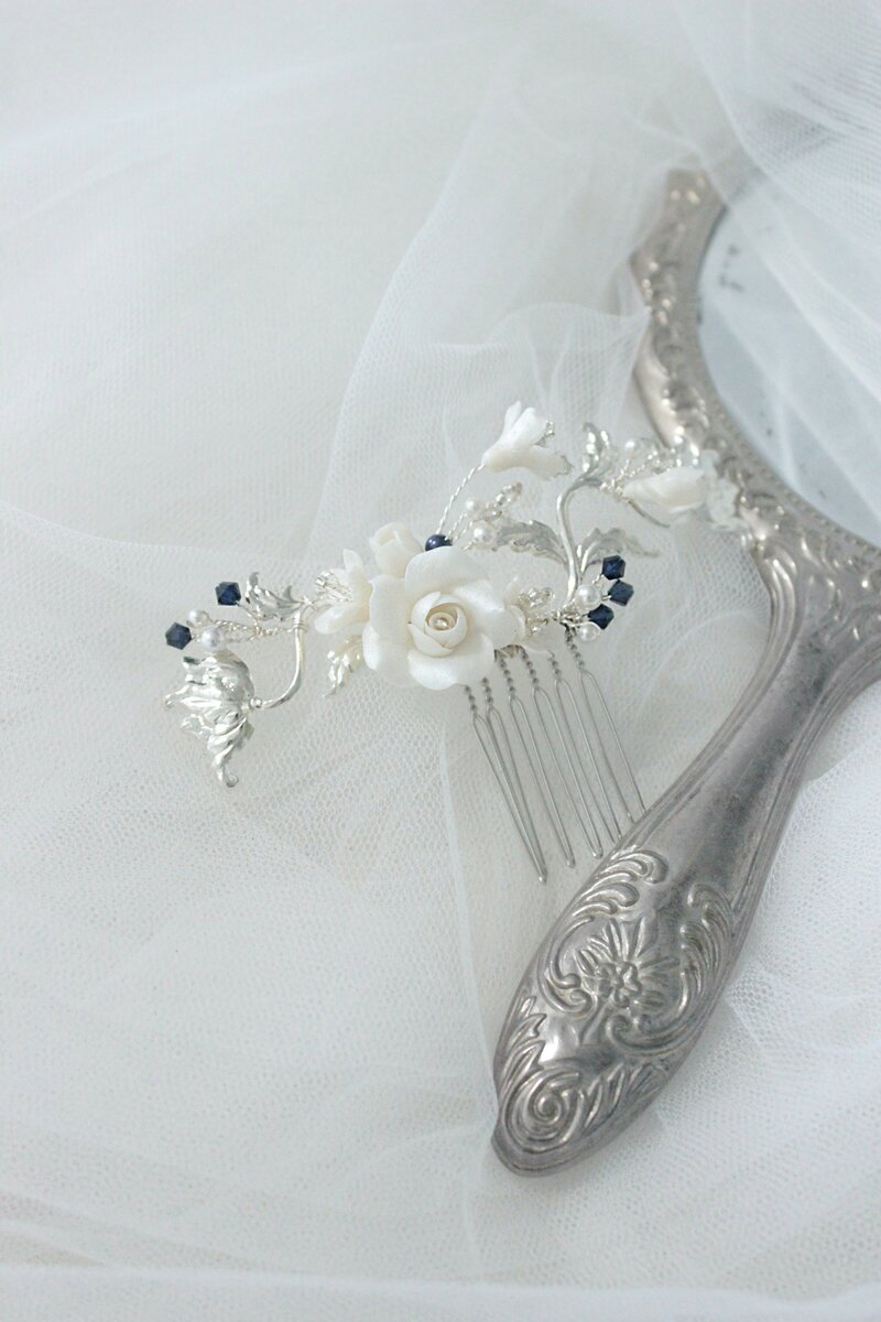 hair clip in silver for the bride or special occasion with clay handmade flowers and silver details