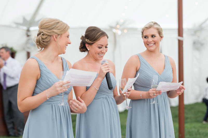 sisters giving reception speech at eastern shore wedding at kirkland manor by costola photography