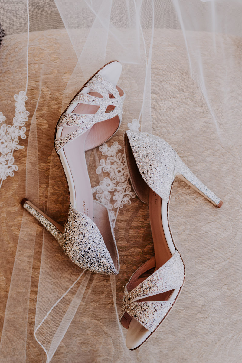 tahoe wedding photographers bride's shoes and veil