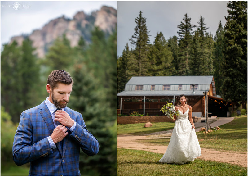 Bride and Groom outdoors on their Colorado wedding day with a barn in the mountains