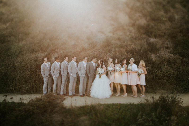 Half Moon Bay CA Wedding Bridal Party at Sunset