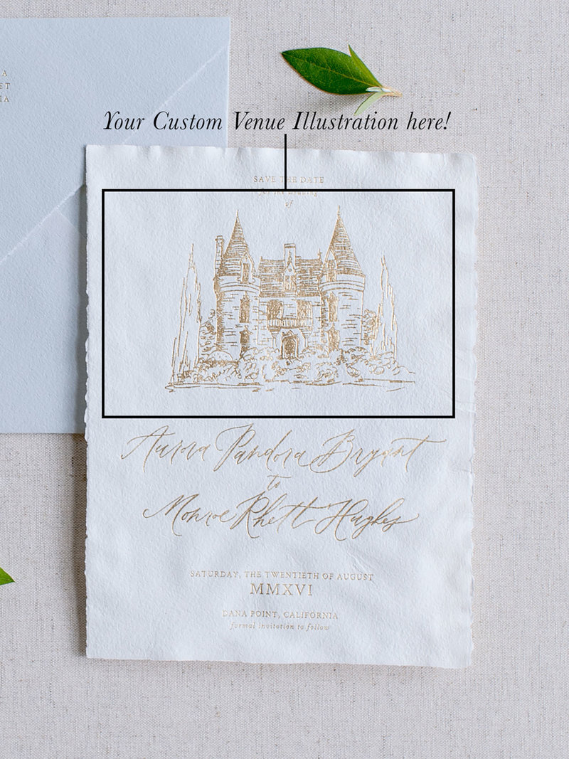Semi-Custom Invitations - Romantic Chateau Collection Save the Date with Custom Venue Illustration